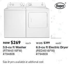 Lowe's Black Friday: Roper 6.5 cu ft Electric Dryer (RED4516FW) for $269.00