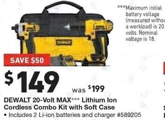 Lowe's Black Friday: DeWalt 20-Volt Max Lithium Ion Cordless Combo Kit with Soft Case for $149.00
