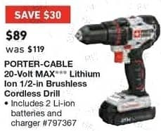 Lowe's Black Friday: Porter-Cable 20-Volt MAX Lithium Ion 1/2in Brushless Cordless Drill for $89.00