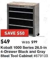 Lowe's Black Friday: Kobalt 1000 Series 26.5 in 4-Drawer Black and Gray Steel Tool Chest for $49.00