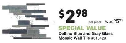 Lowe's Black Friday: Delfino Blue and Gray Glass Mosaic Wall Tile for $2.98