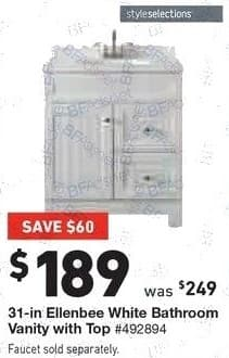 Lowe's Black Friday: styleselections 31-in Ellenbee White Bathroom Vanity with Top for $189.00