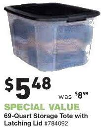 Lowe's Black Friday: 69-Quart Storage Tote with Latching Lid for $5.48
