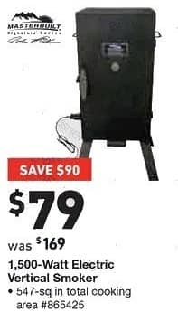 Lowe's Black Friday: Masterbuilt 1,500 Watt Electric Vertical Smoker, 547 sq in Total Cooking Area for $79.00