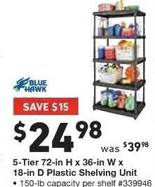 Lowe's Black Friday: Blue Hawk 5-Tier Plastic Shelving Unit, 72-in H x 36-in W x 18-in D for $24.98