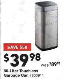 Lowe's Black Friday: 50-Liter Touchless Garbage Can for $39.98