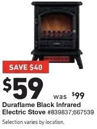 Lowe's Black Friday: Duraflame Black Infrared Electric Stove for $59.00