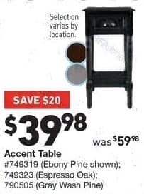 Lowe's Black Friday: Accent Table in Ebony Pine, Espresso Oak or Gray Wash Pine for $39.98