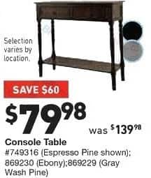 Lowe's Black Friday: Console Table in Espresso Pine, Ebony or Gray Wash Pine for $79.98