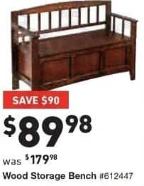 Lowe's Black Friday: Wooden Storage Bench for $89.98