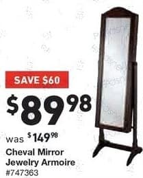 Lowe's Black Friday: Cheval Mirror Jewelry Armoire for $89.98