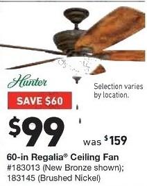 Lowe's Black Friday: Hunter 60 in Regalia Ceiling Fan for $99.00