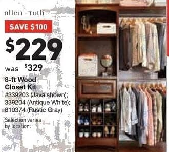 Lowe's Black Friday: allen + roth 8-ft Wood Closet Kit for $229 00