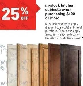 Lowe's Black Friday: Kitchen Cabinets, In-Stock, with $400 or More Purchase - 25% Off