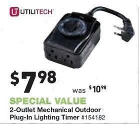 Lowe's Black Friday: Utilitech 2-Outlet Mechanical Plug In Lighting Timer for $7.98