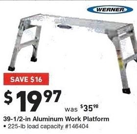 Lowe's Black Friday: Werner 39 1/2 in Aluminum Work Platform, 225 lb Load Capacity for $19.97