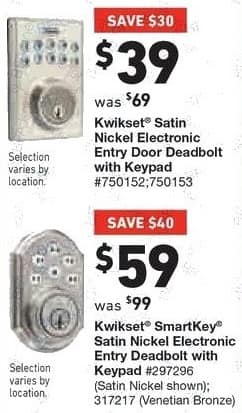Lowe's Black Friday: Kwikset Satin Nickel Electronic Entry Door Deadbolt with Keypad for $39.00