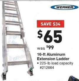 Lowe's Black Friday: Werner 15 ft Aluminum Extension Ladder, 225 lb Load Capacity for $65.00