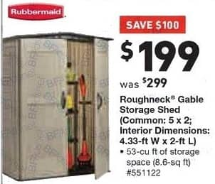 Lowe's Black Friday: Rubbermaid Roughneck Gable Storage Shed (Common 5' x 2') for $199.00