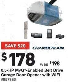 Lowe's Black Friday: Chamberlain 0.5-HP MyQ Enabled Belt Drive Garage Door Opener with Wifi for $178.00