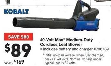 Lowe's Black Friday: Kobalt 40-Volt Max Medium Duty Cordless Leaf Blower for $89.00