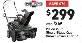 Lowe's Black Friday: Briggs Stratton 208-cc 22 in Single Stage Gas Snow Blower for $299.00