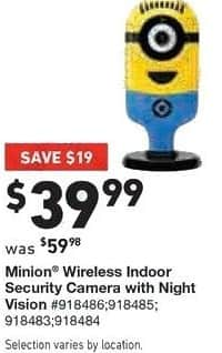 Lowe's Black Friday: Minion Wireless Indoor Security Camera with Night Vision for $39.99