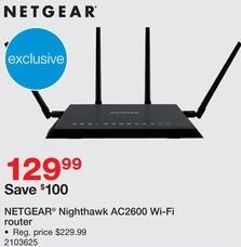 Staples Black Friday: Netgear Nighthawk AC2600 Wifi Router for $129.99