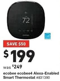 Lowe's Black Friday: Ecobee Ecobee4 Alexa Enabled Smart Thermostat for $199.00