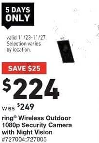 Lowe's Black Friday: Ring Wireless Outdoor 1080p Security Camera with Night Vision for $224.00