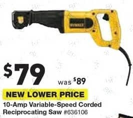 Lowe's Black Friday: DeWalt 10-Amp Variable Speed Corded Reciprocating Saw for $79.00