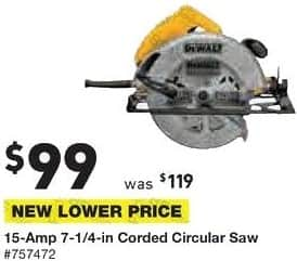 Lowe's Black Friday: DeWalt 15-Amp 7 1/4-in Corded Circular Saw for $99.00
