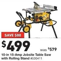 Lowe S Black Friday Dewalt 10 In 15 Amp Jobsite Table Saw With Rolling