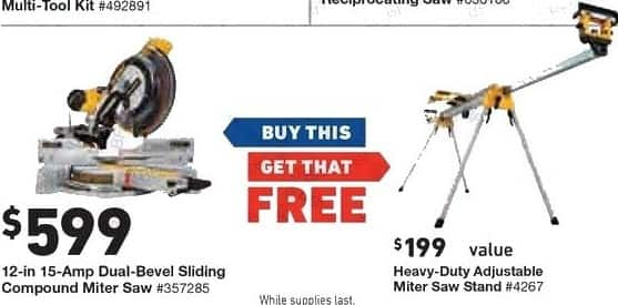 Lowe's Black Friday: DeWalt 12-in 15-Amp Dual Bevel Sliding Compound Miter Saw + Free Heavy Duty Adjustable Miter Saw Stand for $599.00