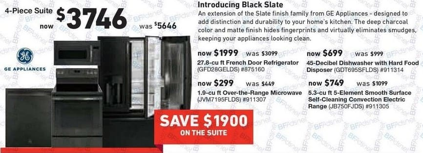 """Lowe's Black Friday: GE 4-piece Appliance Suite: 27.8"""" cu ft French Door Refrigerator, Over The Range Microwave, Dishwasher and 5.3 cu ft Electric Range for $3,746.00"""