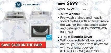 Lowe's Black Friday: GE 7.4 cu ft Electric Dryer with Wi-Fi (GTD75ECSLWS) for $599.00
