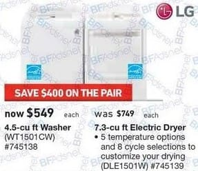 Lowe's Black Friday: LG 7.3 cu ft Electric Dryer (DLE1501W) for $549.00