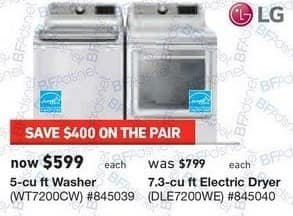 Lowe's Black Friday: LG 7.3 cu ft Electric Dryer (DLE7200WE) for $599.00