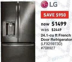 Lowe's Black Friday: LG 24.1 cu ft French Door Refrigerator (LFX25973D) for $1,499.00