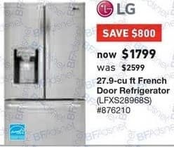 Lowe's Black Friday: LG 27.9 cu ft French Door Refrigerator (LFXS28968S) for $1,799.00
