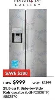 Lowe's Black Friday: Frigidaire 25.5 cu ft Side-By-Side Refrigerator (LGHX2636TF) for $999.00