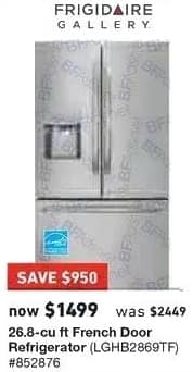 Lowe's Black Friday: Frigidaire 26.8 cu ft French Door Refrigerator (LGHB2869TF) for $1,499.00