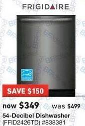 Lowe's Black Friday: Frigidaire 54-Decibel Dishwashr (FFID2426TD) for $349.00