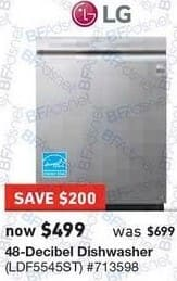 Lowe's Black Friday: LG 48-Decible Dishwasher (LDF5545ST) for $499.00