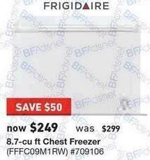 Lowe's Black Friday: Frigidaire 8.7 cu ft Chest Freezer for $249.00