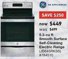 Lowe's Black Friday: GE 5.3 cu ft Self Cleaning Electric Range (JB645RKSS) for $449.00
