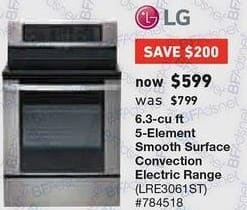 Lowe's Black Friday: LG 6.3 cu ft 5-Element Convection Electric Range (LRE3061ST) for $599.00