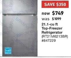 Lowe's Black Friday: Samsung 21.1 cu ft Top Freezer Refrigerator (RT21M6213SR) for $749.00