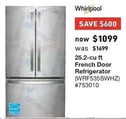Lowe's Black Friday: Whirlpool 25.2 cu ft French Door Refrigerator (WRF535SWHZ) for $1,099.00