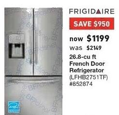 Lowe's Black Friday: Frigidaire 26.8 cu ft French Door Refrigerator (LFHB2751TF) for $1,199.00